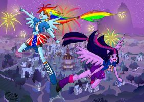Ponyvile 4th of July by RainbowfiedMaya