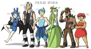 White Nuzlocke: Team Picture 2 by ky-nim