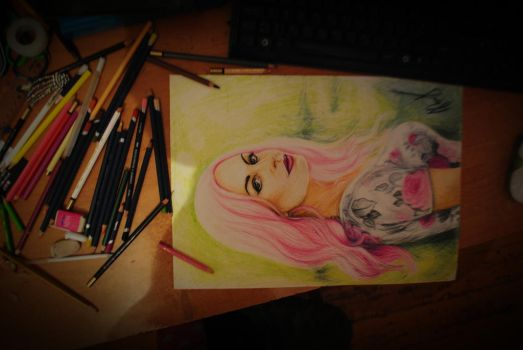 Girl with  pink hair by madgundega