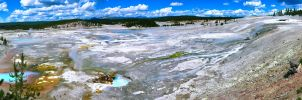 Norris Geyser Basin Pano by KRHPhotography