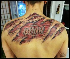 destroyd skin, muscle and stone ambigram by CAMOSartTATTOO