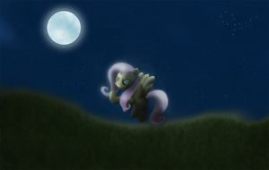 Fluttershy on a field at night by tuore