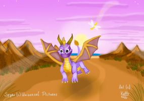Spyro and his friend Sparx by Ketty-lioness