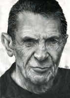 Leonard Nimoy portrait by th3blackhalo