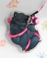 Fuzzy kitty phone charm by SirKittenpaws