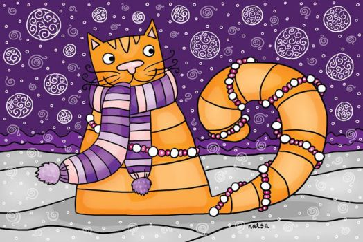 cat christmas card by Norvaal