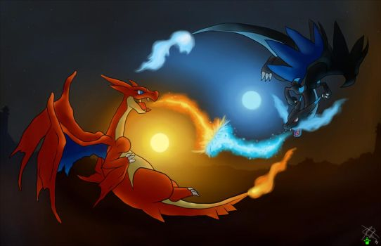 Mega Charizards Sky Battle by Visioku