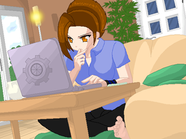 Spinner and Her Laptop: Za by Kios-Doll-Room