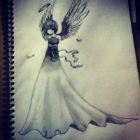 Anime angel - Pencil Sketch by LookAliveHolly