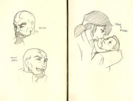 Sketchbook - Legend of Korra adults and baby by Paperfiasco