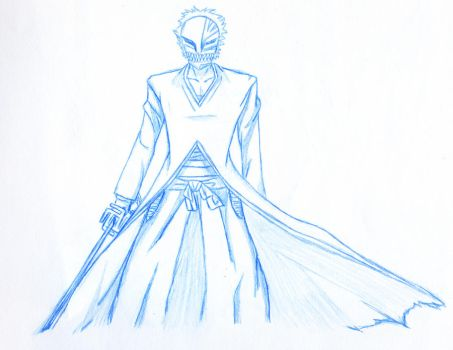 Hollow mask Ichigo Sketch by Yojimborog