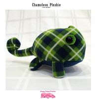 Green Plaid Chameleon (wish squeaker) by SPPlushies