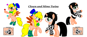 Clown and Mime twins by PolkaMuffin