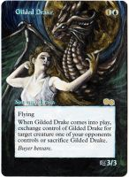 Magic the Gathering Alteration: Gilded Drake by Ondal-the-Fool