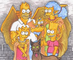 Simpsons Gargoyles by piecesoeight