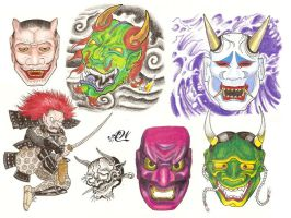 Flash Page - Noh Masks by bthslayr