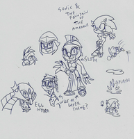 Sketch idea Sonic and the fountain of the amazons by toongrowner