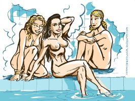 Jung-La, Kate Five and Centennia at the Spa by TheCosmicBeholder