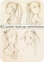 $5 bust sketch commissions OPEN! Buy 3 get 1 free! by rainbownote