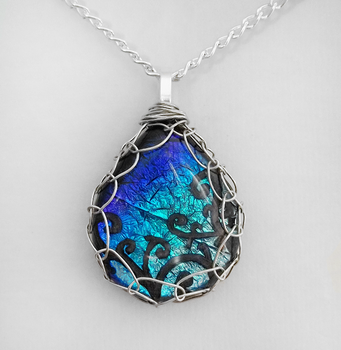 Blue Framed Glass Pendant by HoneyCatJewelry