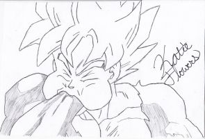 Goku eating...his hand... by Tapions-Flute