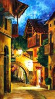 German village oil painting on canvas by L.Afremov by Leonidafremov
