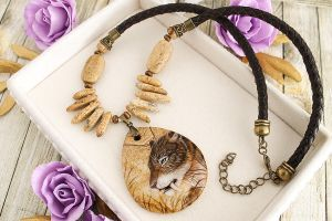 Sabertooth Smilodon - prehistoric style necklace by LunarFerns