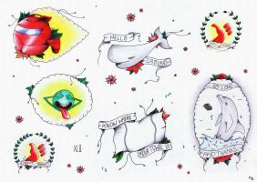 Hitchhiker's Guide To The Galaxy Tattoo Flash Card by nadineballantyne