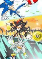 Sonic, shadow and Silver by missyuna