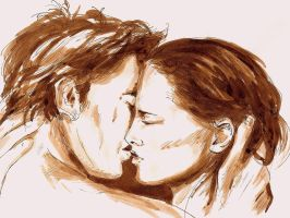 Edward and Bella Volterra Kiss by LittleSeaSparrow