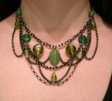 Dark silver and green choker by Crimson-rose-x