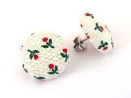 Retro post earrings studs summer white green red by KooKooCraft