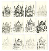 12 Sketches of the Hungarian Parliament by seanpt