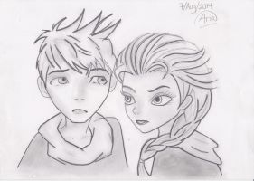 Jack Frost and Elsa by HadassaAria