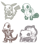 Pokemon Skeletons by MittyMandi