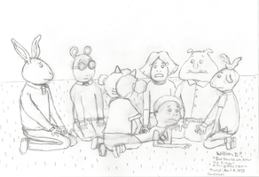 Sad Demetre with Arthur and Friends (uncolored) by WillM3luvTrains