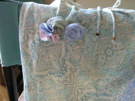 Blue/beige paisley skirt with cottage chic brooch by artistiquejewelry