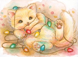 Christmas Light Kitty by aruarian-dancer