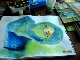 A painting of a Hijabi by enemanime