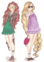 Disney Princess Fashion | Merida and Rapunzel by VianaDrawings