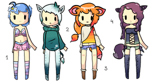 -Set of 4- Chibi Human Adopts (points auction) by JellyTheTangrowth