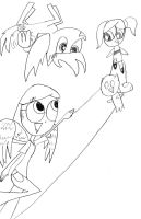 Flying with Friends (sketch) by MonstrousPegasister