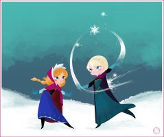Elsa and Anna by HarumiSurya