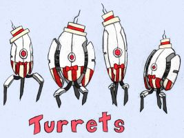 Portal.Turret.Quartet by ElliotShoe
