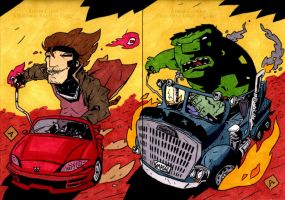 Gambit and Hulk Hot Rod Style by soliton