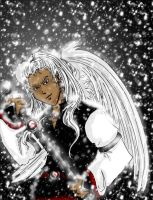 white and red snow angel by cymbrele