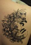 Fox and hare tattoo by Tanukiri