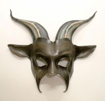Leather Goat Mask in grey and black brown tan by teonova