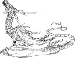 Wyvern lineart by CrazyCrocuta
