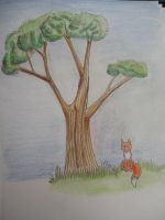 Fox under tree by Chequer